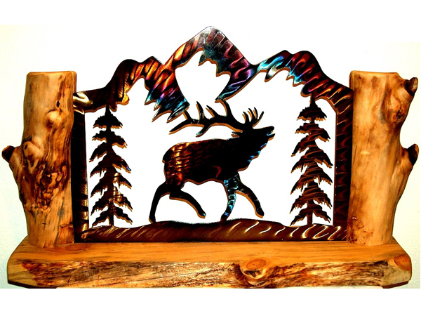 Elk Mantel Log Art